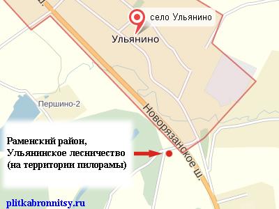 Карта: Ульянинское лесничество Пилорама. Производство тротуарной плитки.