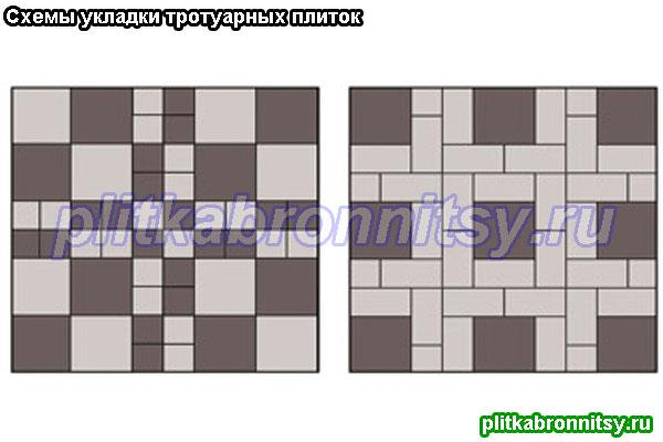 Укладка тротуарной плитки: схема Квадрат Большой и Малый