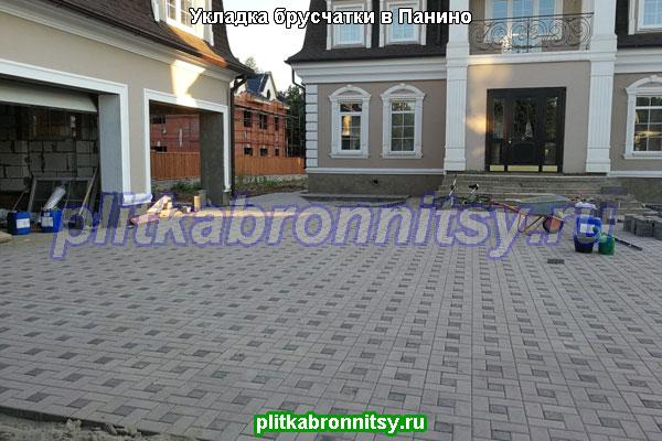 Укладка тротуарной плитки брусчатки в деревне Панино Раменского района Московской области